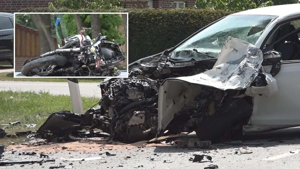 Tödlicher Motorrad-Unfall: Biker fliegt bei Zusammenprall mit VW Golf 100 Meter weit